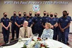 Coast Guardsmen from several units in Oregon honor Paul Bowen, a World War II veteran, with his wife proudly looking at him during Paul's 100th birthday celebration in Salem, Oregon. Patriotic Poems, Coast Guard, Birthday Celebration, Wwii, The 100, Salem Oregon, The Unit, England, World War Ii