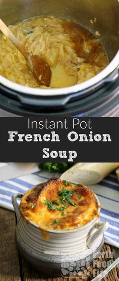 A classic soup full of sweet caramelized onions, rich beef broth, and topped with cheesy goodness, making restaurant quality French onion soup couldn't be easier then this! #soup #frenchonionsoup #instantpot via @earthfoodandfire