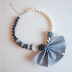 Felt Flower Grey Black Silver Statement Necklace