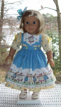 Doll dress and hair clip for 18 inch doll by ASewSewShop on Etsy
