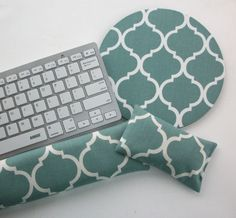 Mouse pad, keyboard rest, and mouse wrist rest set - spa trellis quatrefoil coworker desk cubical office accessories