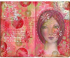 Art Journals - I like the red circles outlined in white paint pen