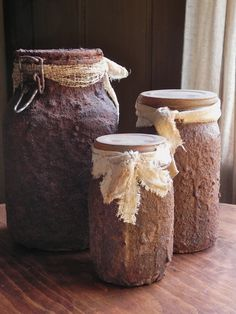 Primitive Grungy Pantry Mason Jars Set Of 3 For Your Farmhouse Or Country Kitchen From Country Home City Home. $29.00, via Etsy.