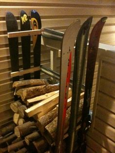 A good use of my old skis, except I would make it wider. We use a lot of wood during the winter months.