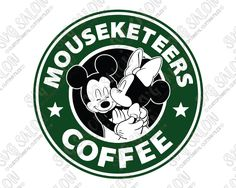 Mickey and Minnie Starbucks Logo Disney Mouseketeers Coffee SVG Cut File Set