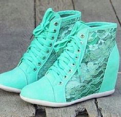 Shoes: wedge sneakers, sneakers, wedges, mint, mint blue, lace ...