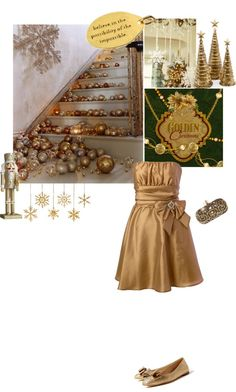 """Golden Chridtmas"" by texaspinkfox ❤ liked on Polyvore"
