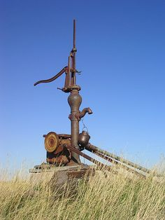 Old pump along road northeast of Rapid City, SD
