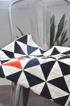 Navy and tangerine quilt