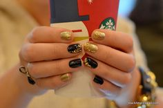 Black and Gold Manicure with Glitter Accents. Oh, and the Starbucks red cups are here! :)
