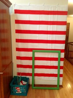 Dr Seuss photo booth using a clearance shower curtain from Target