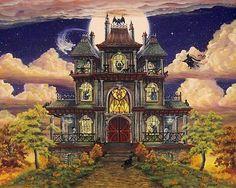 Народное искусство Хэллоуин печать призрачные барский дом с привидениями ведьма привидение летучая мышь кот