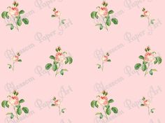 Pink Flowers Digital Printable Paper  by blossompaperart on Etsy,