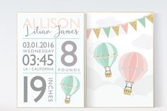 Birth stats wall art, pink, mint, gold, coral nursery decor, hot air balloon nursery, hot air balloon nursery, baby birth stats, baby name by LotusNurseryArt on Etsy https://www.etsy.com/listing/247935719/birth-stats-wall-art-pink-mint-gold