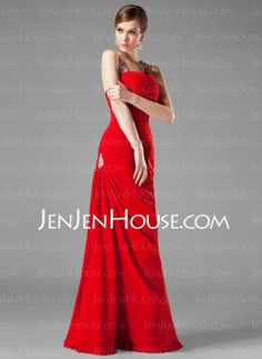 Evening Dresses - $123.99 - Mermaid Halter Floor-Length Chiffon  Charmeuse Evening Dresses With Ruffle  Beading (017002264) http://jenjenhouse.com/Mermaid-Halter-Floor-length-Chiffon--Charmeuse-Evening-Dresses-With-Ruffle--Beading-017002264-g2264