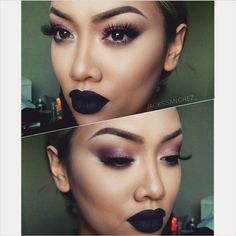 """Pinterest: Nuggwifee ☽☼☾ I already wear this shadow pretty much DAILY, but I need a new black lipstick, this """"velvetine"""" looks great! -Sandy"""