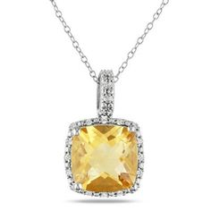 Zales Cushion-Cut Citrine and 1/10 CT. T.w. Diamond Frame Pendant in Sterling Silver 9SxuvRr9