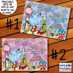 Dr. Seuss BABY SHOWER INVITATION Dr. Seuss by PartyvillePrintables