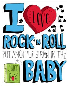 I Love Rock 'N Roll Hand drawn Type 11 x 14 Print Kids por ecdesign