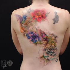 Beautiful watercolor flower and bird tattoo - 100 Awesome Back Tattoo Ideas  <3 <3