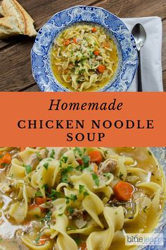 Homemade Chicken Noodle Soup is as good for the soul as it is for your body. Using already cooked or rotisserie chicken is a quick and easy shortcut and gives you the tastiest morsels of chicken. Makes you feel healthy if under the weather too! Chef Recipes, Soup Recipes, Cooking Recipes, Yummy Recipes, Cooking Ideas, Dinner Recipes, Blue Jean Chef, Chicken Noodle Soup