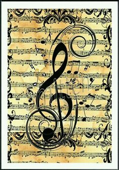 Treble Clef over Sheet Music Art Print by SmittensDesigns, Sound Of Music, Music Is Life, Instruments, Treble Clef, Piano Music, Piano Art, Sheet Music Art, Music Paper, Music Sheets