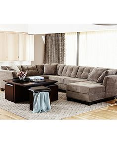 Elliot Fabric Sectional Living Room Furniture Collection - Sectional Sofas - furniture - Macy's