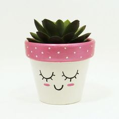 Succulent Planter Terracotta Pot Cute Face Planter Air Plant Holder Plant Pot Flower Pot Indoor Planter Kawaii from TimberlineStudio on Etsy Painted Plant Pots, Painted Flower Pots, Decorated Flower Pots, Flower Pot Crafts, Clay Pot Crafts, Clay Pot Projects, Flower Pot Art, Pots D'argile, Clay Pots