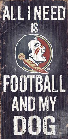 Florida State Seminoles Wood Sign - Football and Dog 6x12