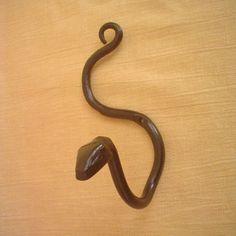 Snake Wall Hook Crawling Down Wrought Iron Hand Forged, Folk Art  Metal Wall Hook