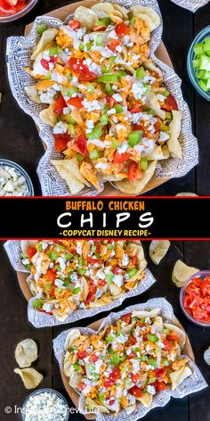 Buffalo Chicken Chips - this easy appetizer has crunchy kettle chips topped with buffalo chicken, veggies, and dressing. Make this Disney copycat recipe for game days or movie nights. Fun Easy Recipes, Easy Appetizer Recipes, Yummy Appetizers, Summer Recipes, Dinner Recipes, Snack Recipes, Kettle Chips, Healthy Hummus Recipe, Chicken And Chips