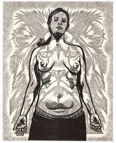 """Lion Heart"" by Sonia Romero  Papercut Print and Linocut Mixed Media  2011"