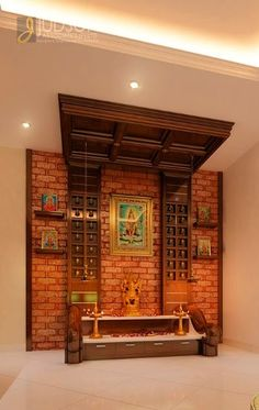 One wall of the house is transformed to a open pooja room Temple Room, Home Temple, Mandir Design, Pooja Room Door Design, India House, Puja Room, Indian Home Decor, Traditional House, Modern Interior Design