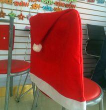 Новый 2014 санта Red Hat чехлы на стулья рождественские украшения ужин стул рождественская шапка комплект(China (Mainland))