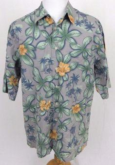 Reyn Spooner Hawaiian Regency Shirt XL Cotton Lawn Tiki Straw Hut Floral Aloha #ReynSpooner #Hawaiian