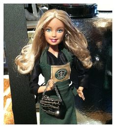 Do you love Barbie?  I'll bet you don't have this one.  Look everyone!!! ...it's Starbucks Barbie!!!