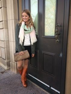 Sweet Bananie - utility jacket over a lace/crochet skirt, herringbone print tights, brown clutch, gifted scarf & new #Frye boots