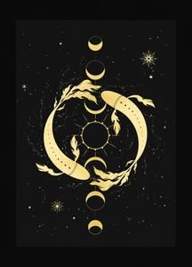 Products – Page 2 – Cocorrina & Co Ltd Art Zodiaque, The Moon Tarot Card, Or Noir, Zodiac Art, Aquarius Zodiac, Moon Phases, Tarot Cards, Pisces, Constellations