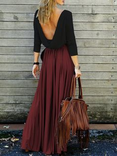 Alluring Long Sleeve Maxi Draped Open Back Dress RED WITH BLACK | Dressfo