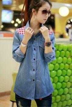 Blue Long Sleeves Denim Ladies Shirt with Checkered Plaid Details Korea Fashion, Kpop Fashion, Denim Fashion, Asian Fashion, Skirt Fashion, Fashion Outfits, Semi Formal Mujer, Ropa Semi Formal, Look Rock