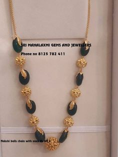 Pearls can be so beautiful Pure Pearls combined with Rubi emerald and stone studded Gold balls chain for daily wear n small parties. Beautiful green stones haaram in between rudraksha design balls. Contact no 8125 782 411 for orders. 14 May 2018
