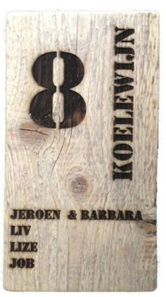 Naambord van steigerhout.