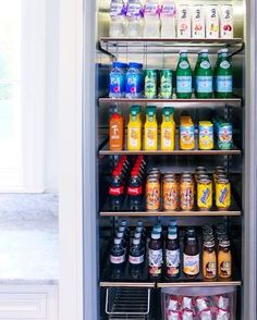 Drink fridge organization – Beverage Refrigerator – Ideas of Beverage Refrigerat… - Beverage Refrigerator Organization, Kitchen Organization Pantry, Home Organisation, Recipe Organization, Kitchen Pantry, Organized Fridge, Organization Ideas, Kitchen Storage, Bathroom Storage