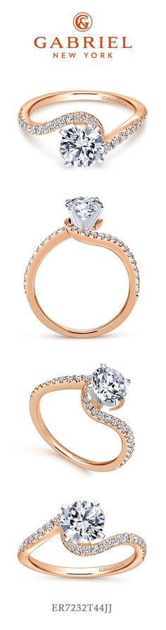 14k Rose Gold Round Bypass Engagement Ring. This beautiful diamond ring will catch all your friends eyes! Check out more rose gold engagement rings here!