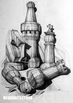 Chess Pieces Composition. Pay close attention to the gradient each shadow has as it gets further away in perspective. Pencil on 50x70 Standard Paper, 5 Hours Completion Time #architecture #architect #rendering