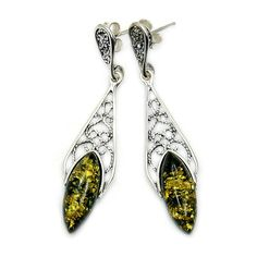 'Forest Princess' Sterling Silver Natural Green Baltic Amber Dangle Earrings