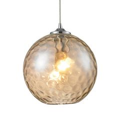 View the ELK Lighting 31380/1CMP Watersphere Single-Light Mini Pendant with Champagne Glass Shade, in Polished Chrome Finish at LightingDirect.com.
