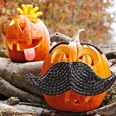 Fun Pumpkin Idea: Junk Foodies! Rock out with a cheese-puff mohawk and taffy tongue. Or try his dapper cousin, a fancy gent sporting a black licorice mustache!