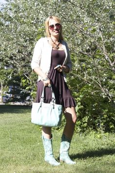 Brown dress & turquoise Corral cowboy boots