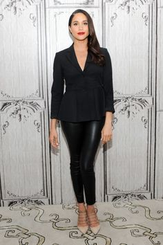 Leather trousers are a stylish alternative to the little black dress for evening, as Markle knows too well.